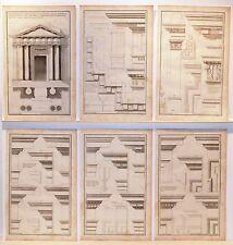 Stampe antiche ARCHITETTURA SERIE di 6 ORDINE DORICO S. 6 1757 Old antique print
