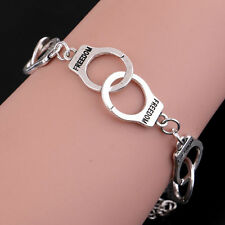 Silver Freedom Handcuff Chain Link Charm Bracelet Bangle Women Party Gifts
