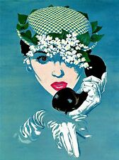 PAINTING PORTRAIT WOMAN TELEPHONE HAT RED LIPS GLOVE ART POSTER PRINT LV2830