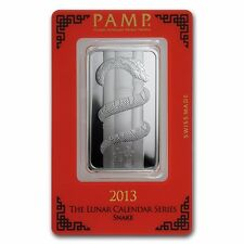 1 oz Pamp Suisse Silver Bar - Year of the Snake - In Assay - Lunar Calendar