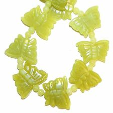 "NG2532 Green New Jade"" Carved Butterfly & Spacer Beads Serpentine Gemstones 15"""