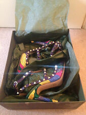 BNIB VALENTINO ROCKSTUD CAMO STRASS CRYSTAL PURPLE YELLOW HEELS SHOES UK 36.5