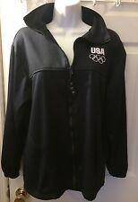 USA UNITED STATES Olympic Committee Warm Up Jacket Navy Blue White Zip Up Sz M