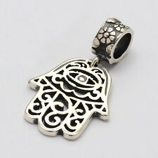 HAMSA-Fatima hand-Eye-Palm-Solid 925 sterling silver European charm bead/Pendant