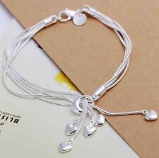 UK - Silver Plated Five Heart Charm Bracelet Chain Ladies Friendship   014