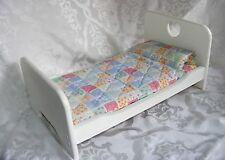DOLLHOUSE Bed, White Wooden Bed Frame & Colorful Quilt, American doll can fit
