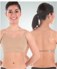 Body Wrappers 0275 Girl's Large (12-14) Nude Halter Bra w/ Clear Adj. Straps