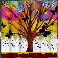 Colourful Abstract Tree Butterfly's Bathroom Shower Curtain Polyester Hooks