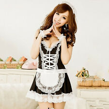 Women's Maid Servant Lace Costume Female Sexy Dress Sexy Lingerie (Color: Black)