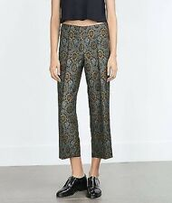 ZARA Jacquard CROPPED TROUSERS NEW WITH TAG SIZE S  NEW IN BOX