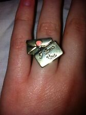 Monsoon Accessorize Pink Heart Envelope I Love You Gold Tone Ring Retro Cute K L
