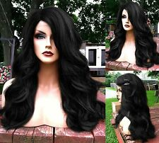 USA // Heat Safe BABY HAIR Off Black Wavy & Curly LONG Lace Front & Part Wig