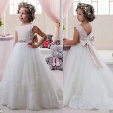 Wedding Lace Party Formal Flower Girls Dress Pageant Birthday Ballgown Size 2-14