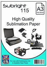 A3 Sublimation Paper (Subright 115) 100 Sheets for use Suitable Heat Press