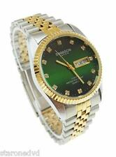 SWANSON MENS WATCH-JAPAN,CRYSTAL,DAY,DATE,50M WATER RESISTANT GREEN FACE NEW