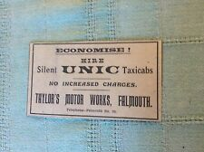 b2-5 ephemera ww1 1916 advertfalmouth taylor's motor works unic taxis