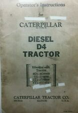Caterpillar Diesel D4 Tractor Operators & Maintenance Manual RD4 4G1 7G1 2T1 5T1