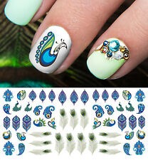 Peacock Feather Nail Art Waterslide Decals - Salon Quality!
