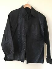100% Genuine Ostrich Leather Jacket Black Size XL Handmade In Mexico