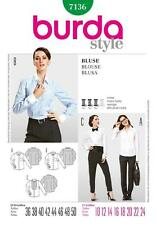 BURDA SEWING PATTERN LADIES SHIRTS & BLOUSES  SIZE 10 - 24 7136