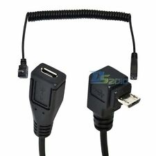 Micro USB Up Angle Male to Female Extension Coiled Spiral Charging Cable - UK