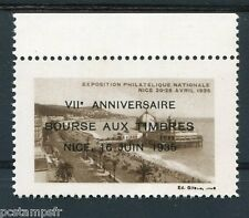 FRANCE, 1935, vignette VII ANNIVERSAIRE BOURSE AUX TIMBRES, NICE 2, neuf** LUXE