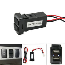 2.1A Dual 2 Port USB Charger Socket Wiring Fuse Push Switch Panel Car For Toyota