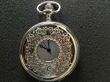 POCKET WATCH NO.7 SILVER COLOURED HALF HUNTER,FILIGREE COVER,COLLECTABLE