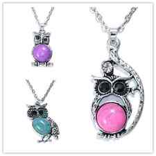 3pcs Women Vintage Crystal Owl Pendant Necklace Long Chain Rhinestone Jewelry