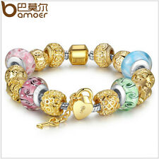 Gold Plated Charm Bracelet For Women With Multicolor Murano Beads Gift DIY 20cm