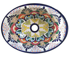 #126 LARGE BATHROOM SINK 21X17 MEXICAN CERAMIC HAND PAINT DROP IN UNDERMOUNT