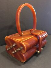 VINTAGE WILARDY TORTOISE SWIRL LUCITE PURSE WITH RARE SCROLL TOP DESIGN*STUNNING