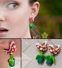 Pair Handcrafted Mario Piranha Plant Flower Polymer Clay Earrings Studs Earring