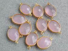 Vermeil Bezel Natural Pink Rose Quartz Faceted Oval Gemstone Connector 15x26mm.