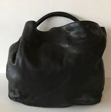 YVES SAINT LAURENT Black Textured Leather Roady Hobo Bag Silver Hardware