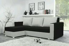 corner sofa bed black white fabric sleeping option living room.