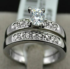 1ct Diamond Sterling Silver Pave Band Wedding Engagement Ring Set Size 7