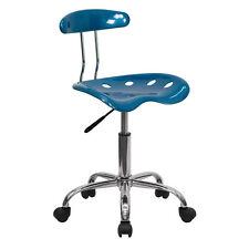 Flash Furniture Vibrant Bright Blue & Chrome Computer Task Chair w/Tractor Seat