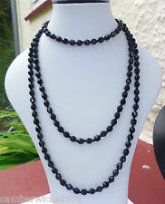 "Victorian Mourning Black French Jet Necklace, 57"" (nearly 5ft long!)"