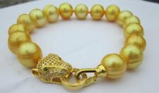 12-13MM NATURAL SOUTH SEA BAROQUE YELLOW  PEARL BRACELET 7.5-8''  Leopard Clasp