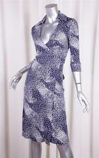 DIANE VON FURSTENBERG VINTAGE Womens Blue Silk Knit Wrap Dress 0/XS NEW NWT