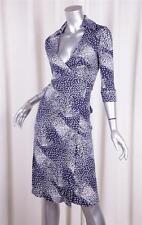 DIANE VON FURSTENBERG VINTAGE Womens Blue Silk Knit Wrap Dress 0/XS NEW NWT