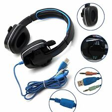 Gaming Headset Headband Headphone USB 3.5mm LED Mic Surround Stereo for Com