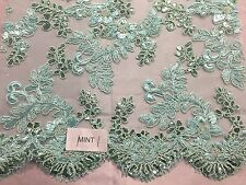 Mint Corded Flowers Embroider With Sequins On Mesh Lace Fabric-yard