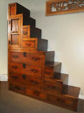 Japanese Antique Keyaki Kaidan Dansu Step Staircase Tansu (SALE 20% OFF $5,200)