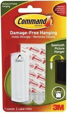 3M COMMAND SAWTOOTH PICTURE & FRAME HANGER 1 Hook 2 Large Strips 2.2Kg/5Lb 17040