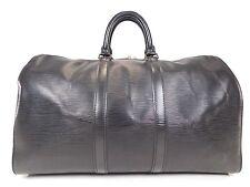 Louis Vuitton Keepall 45 Black Duffle Bag Suitcase Epi Leather Vintage Carry 309