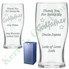 Godfather Godmother Personalised Pint Glass Gift Present Christening Gift Idea