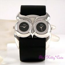 Stunning Designer Silver Black Ladies Owl Bird Twin Time Dual Multi Dial Watch