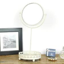 Swing mirror tray jewellery holder cream metal vintage shabby chic table top